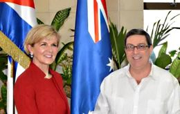Foreign Ministers Bruno Rodriguez Parrilla of Cuba and Julie Bishop of Australia at the signing of the new Memorandum on Friday in Havana