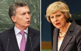 Macri and PM May met last September at a UN event in New York for world leaders hosted by then ex Secretary General Ban Ki-moon