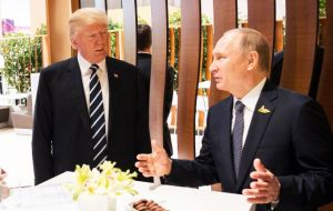 "Earlier as the talks began Trump told Putin: ""It's an honor to be with you."" Mr Putin replied: ""I'm delighted to meet you personally."""