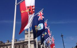 Flags of the OT and dependencies are regularly raised outside Parliament for state occasions such as the King's visit
