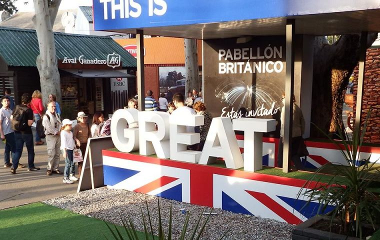 The Pavilion will host stands of British and Uruguayan brands with ties to UK, and Falklands will be again represented