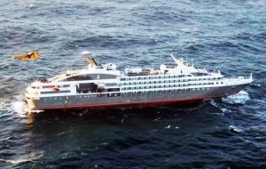 In November 2015 some 347 passengers and crew were rescued from the stranded French cruise Le Boreal close to East Falkland