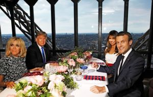 Trump dined Macron at the Eiffel Tower and will watch the Bastille Day parade on the Champs-Élysées on Friday, 14th July.