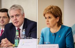 "Nicola Sturgeon and Welsh first minister Carwyn Jones branded the repeal bill, published on Thursday, a ""naked power grab"""