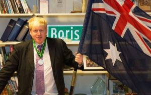 Foreign Secretary Boris Johnson is on a two-day tour of Australia