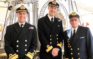 (L_R) Rear Admiral Keith Blount OBE – Assistant Chief of the Naval Staff (Aviation, Amphibious Capability & Carriers), Commodore Peter Sparkes Royal Navy – Commander of the Portsmouth Flotilla, and Ca