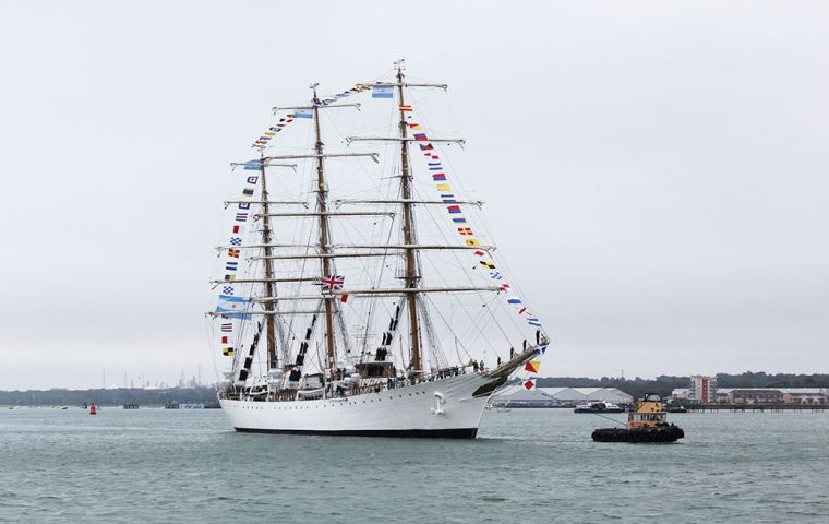 The flagship of the Argentine navy with 61 midshipmen on board arrived in Southampton as part of a world tour