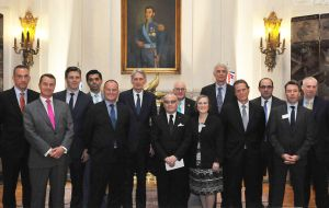 UK officials and business delegation with Jorge Faurie at the foreign ministry