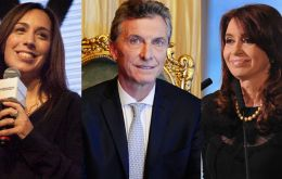 Governor Maria Eugenia Vidal, Mauricio Macri and Cristina Fernandez, a trump card