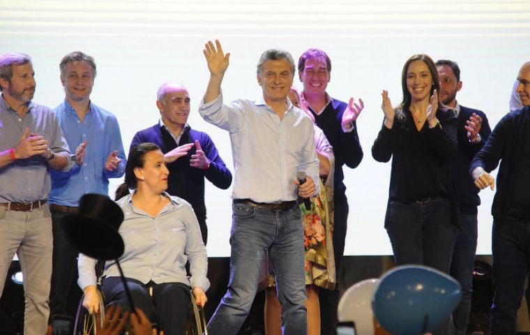 President Macri and his team celebrating the results of Sunday's primaries.