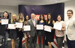 UK Trade Envoy for Brazil, Mark Prisk MP (C) with some of the new scholars from Recife (Pic Twitter)