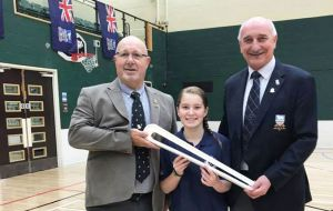 Gary Clements, QBR organisers; Ella Clement a future Commonwealth Games swimmer and Mike Summers FIOGA Chair.