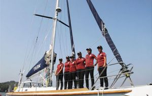 INSV Tarini. This is the first-ever circumnavigation of the globe by an all-woman crew from India. The vessel is the 55-foot INSV Tarini
