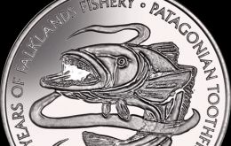 The coins are produced by the Pobjoy Mint, on behalf of the Falklands Treasury. The reverse design features the Patagonian toothfish in an eddy of water.