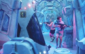 Guests can also take on their family and friends at the space station-themed laser tag course.