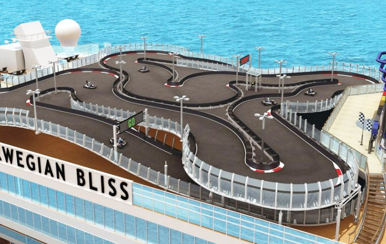 The 4,000-guest Norwegian Bliss will boast the largest competitive race track at sea. It will also feature multiple water slides and an open-air laser tag course.