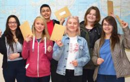 Some happy GCSE students on Thursday: Sabrina Camblor, Darby Newman, Dwight Joshua, Jess Whalley King, Kattrice Berntsen and Rebecca Goss