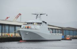 HMS Forth is the first of five new patrol ships built to assist the navy in safeguarding fishing stocks, as well as protecting the Falkland Islands