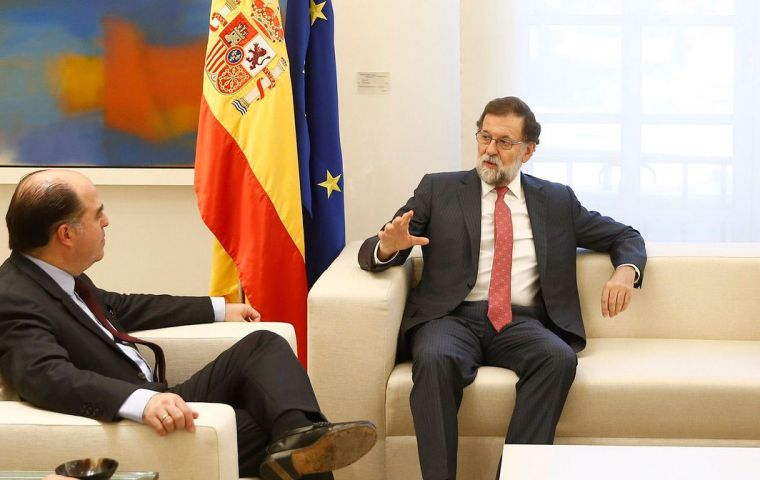 The head of Venezuela's opposition-led congress, Julio Borges, visited Spain on Tuesday to meet Mariano Rajoy as part of a European tour