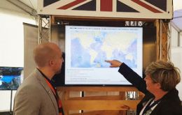 Francisco Alvarez (Science & Innovation Officer, BE Santiago) and Kylie Bamford (FCO, Polar Regions Department) at the British stand in IMPAC4.