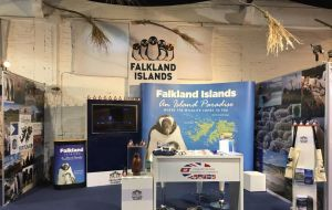 The Falkland Islands desk display at the Great Britain stand will be officially opened on Friday (Pic J. Ford SAAS)