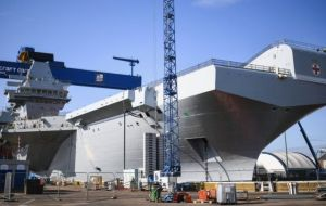 The new warship, HMS Prince of Wales, sister of HMS Queen Elizabeth, is externally complete but it will be 2019 before it can begin sea trials.