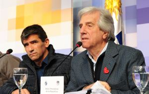 President Tabare Vazquez and Raul Sendic, the winning ticket of the presidential election in November 2014