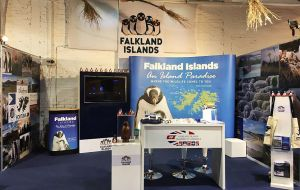 The Falkland's Stand at the Great Britain Pavillion in Montevideo Expo Prado Rural Show