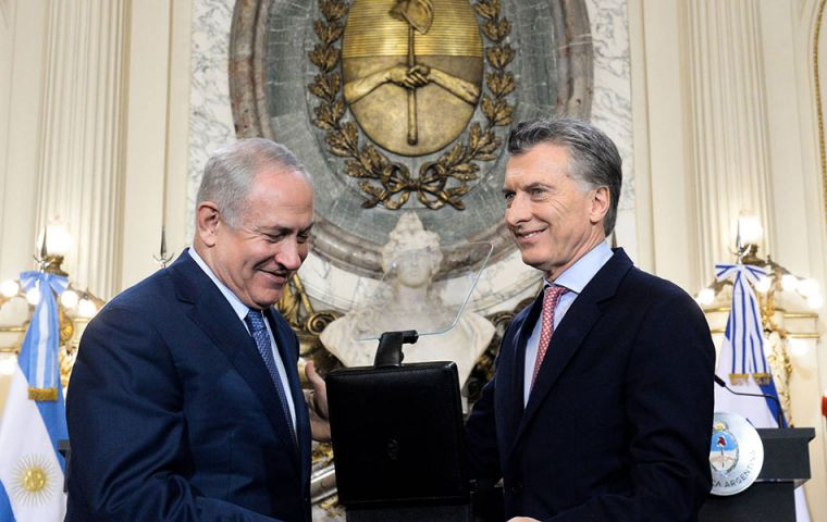 Netanyahu praised Macri for jump-starting efforts to solve the crimes. Critics accuse previous president Cristina Fernandez of trying to improve ties with Iran