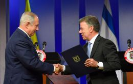 PM Netanyahu and President Santos pledged to strengthen ties in areas like science, security and tourism as Colombia transitions into a post-conflict era.