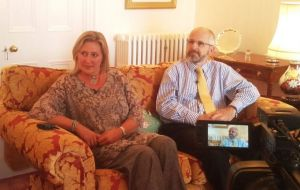 Gov. Nigel Phillips CBE and his wife Emma at their new home received the Falklands' media