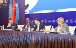 UNWTO Secretary General Taleb Rifai (second right) addresses UNWTO delegates, primarily from the Caribbean region, who were impacted by recent severe natural disasters