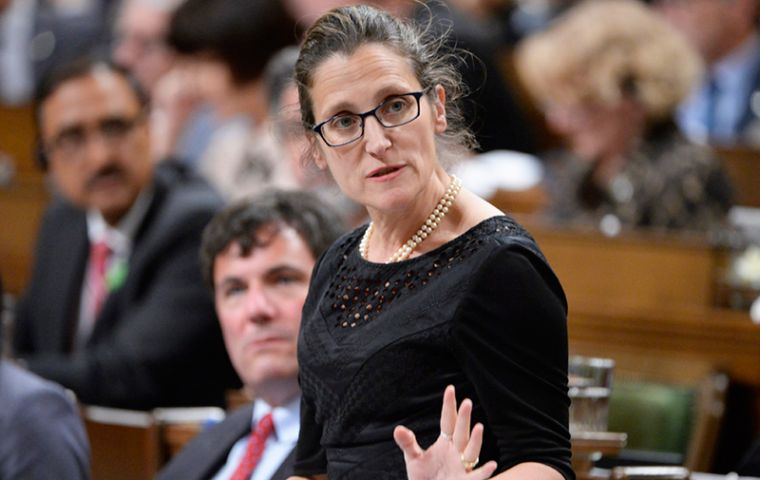 """Canada will not stand by silently as the government of Venezuela robs its people of their fundamental democratic rights,"" Foreign Minister Chrystia Freeland said"
