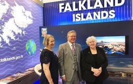 At the Falklands stand in the UK Labour 17 Conference Sukey Cameron MBE and Jan Cheel MLA welcomes Peter Dowd Shadow Chief Secretary to Treasury