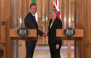 "Following a working lunch in No 10, Varadkar said the PM's decision to rule out a hard border between the Republic and Northern Ireland was ""very important""."