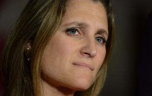 "Canadian Foreign Minister Chrystia Freeland said the three sides had made ""solid progress"" on topics such as electronic border forms and regulations harmonization"