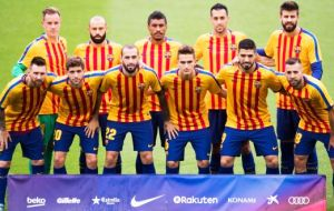 Barcelona's players emerged at Nou Camp wearing a yellow-and-red-striped club training shirt, colors of the Estelada flag associated with Catalan independence.