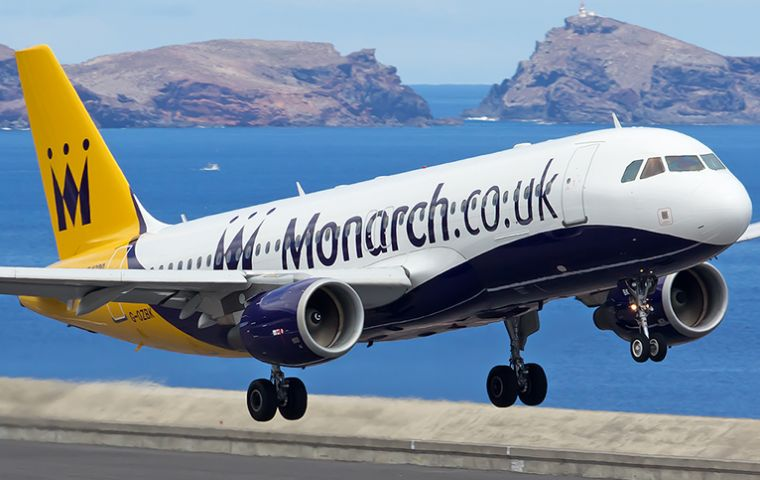 Monarch Airlines operated services from Gibraltar to Gatwick, Manchester, Luton and Birmingham.