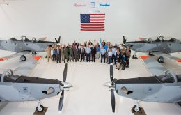 The official handover ceremony at Textron's facility in the US. The Argentine Air Forces is expected to receive 12 such aircraft with an option for a further 12.
