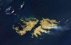 The true-color image of fire and smokes in the Falklands recorded last 28 September with MODIS aboard NASA's Aqua satellite