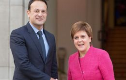 Ms. Sturgeon met Taoiseach Leo Varadkar to discuss both countries' position on Brexit. It was the first time she had met Mr Varadkar since his election