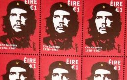 The stamp features the iconic image of the Argentine-born revolutionary Ernesto Guevara, by Dublin artist Jim Fitzpatrick.