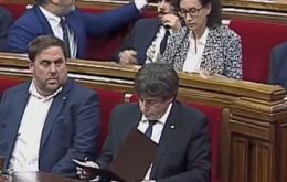 Madrid has given Puigdemont (photo) a Monday deadline to make clear whether he has already declared independence or fall in line with Spain's laws by October 19.