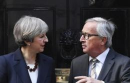 "May and Juncker said they had had a ""broad, constructive exchange on current European and global challenges"", including preserving the Iran nuclear deal"