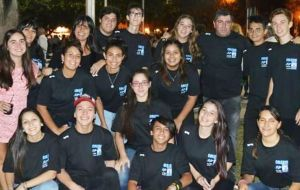 The Argentine teenagers from the Don Bosco College in Ensenada, before their trip to the Falklands