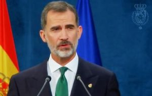 King Felipe VI said Catalonia is an essential part of the country and Spain would solve the problem through democratic institutions.