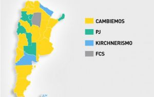 "Macri's ""Cambiemos"" coalition (yellow colour) won the top five population centers of Buenos Aires City, and Buenos Aires, Cordoba, Santa Fe and Mendoza provinces."