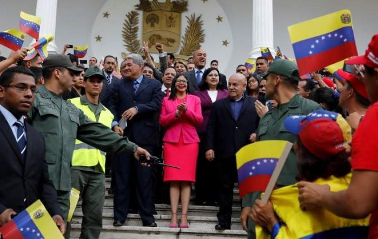 The head of the constituent assembly, Delcy Rodriguez, said the remaining holdout opposition governor, Juan Pablo Guanipa of Zulia state, would suffer consequences