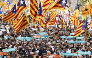 Thousands of independence supporters gathered near the parliament building in Barcelona anticipating the historic declaration.
