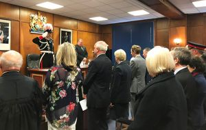 Falklands' governor Nigel Phillips, CBE, in full uniform when the recent taking oath ceremony in Stanley before the elected Members of the Legislative Assembly